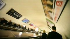 People down in subway on escalator, Komsomolskaya station Stock Footage