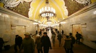 Stock Video Footage of People go in different directions in Komsomolskaya station of Moscow subway,