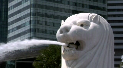 The Merlion and the Financial Center as Background Stock Footage