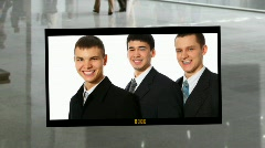 Business people photoalbum on business hall background collage Stock Footage