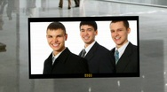 Stock Video Footage of business people photoalbum on business hall background collage