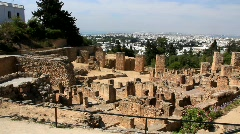 Ruins of ancient Carthage in Tunisia Stock Footage