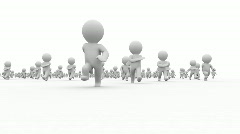 3d white cartoon crowd running  Stock Footage