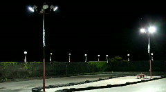 Empty Go-Kart track at Night Stock Footage