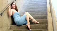 Female Model posing in Stairwell Stock Footage