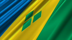St Vincent And The Grenadines Flag Loop 02 Stock Footage