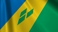 St Vincent And The Grenadines Flag Loop 03 Stock Footage