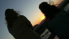 Sunset Women Sillhouette Stock Footage