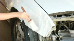 Painting car at home Stock Footage