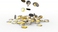 Coins falling down. Stock Footage