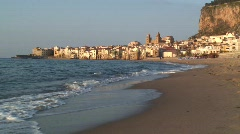 The coastal town of Cefalu, N-Sicily, Stock Footage