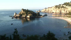 View of  Isola Bella Island, Taormina, Sicily Stock Footage