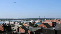 Plane Flying Over Portland, Maine Stock Footage