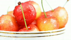 Fresh cherries in the cup. Close up. - stock footage