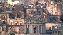 View over Modica and the  San Giorgio Cathedral, Sicily Stock Footage