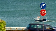 Stock Video Footage of Fishing Boat,Signs and Traffic