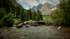 (1227) Maroon Bells Peaks Lake Colorado Mountains Wilderness Summer Stock Footage