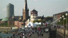 Dusseldorf, the old town by the Rhine River Germany Stock Footage