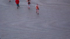 Walking people on stone road motion blur timelapse Stock Footage