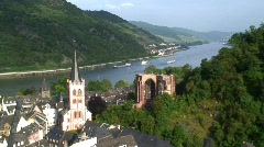 View over Bacharach, and the Rhine River,  Germany, Europe Stock Footage