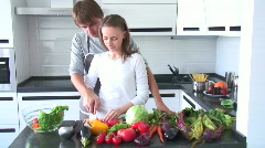 Couple cooking - stock footage