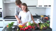 Couple cooking Stock Footage
