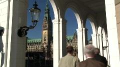 City Hall, Alsterarkaden, Altstadt, Old Town, Hamburg Germany Stock Footage