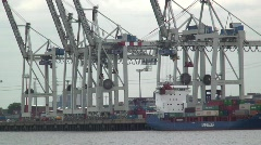 Container Ship being unloaded, Hamburg Docks, Germany Time Lapse Stock Footage