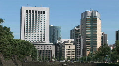 Tokyo city view from Imperial Palace Japan Stock Footage