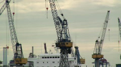 Cranes within Hamburgs Docks, Germany Europe Stock Footage