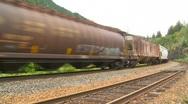 Railroad, freight train pan Stock Footage