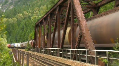 Railroad, freight train over bridge Stock Footage