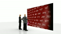 Animation showing 3d men observing share market on a screen Stock Footage