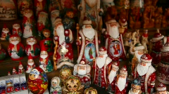 Many souvenir Russian wooden dolls, which are called Matryoshka and figures of Stock Footage