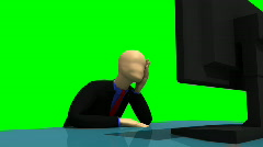 Animation representing a despaired 3d-man in front of a desktop Stock Footage