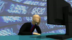 Animation presenting a enthusiastic 3d-man with a desktop Stock Footage