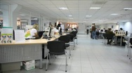 Panorama office of car salon, where its employees advise customers Stock Footage