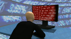Computer animation representing a 3d-man  observing the share market Stock Footage