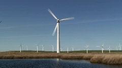 Wind Farm, generating energy, Mid-Wales, UK Stock Footage