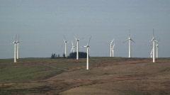 Wind Farm, nr Newtown  generating energy, Mid-Wales, UK   Stock Footage