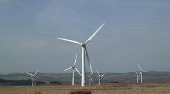 Wind Farm, generating energy, Mid-Wales, UK. Slow motion.  Stock Footage