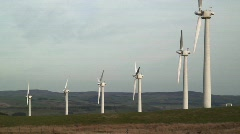 Wind Farm, generating energy, Mid-Wales, UK. Slow motion.  Stock Footage