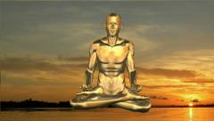 Yoga meditation in sunset Stock Footage