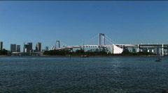 Tokyo Bay - Rainbow Bridge Stock Footage