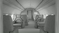 Walk through private plane interior - stock footage