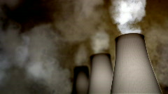 Smoking Industrial Chimneys HD Loop Stock Footage