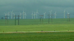 Wind Farm and Power Poles 03 Stock Footage