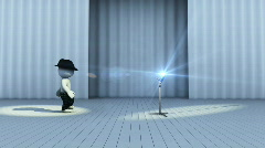3d cartoon superstar at the show or concert - stock footage