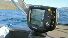 Fish finder on dash of boat Stock Footage