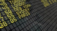 International departures board panel Stock Footage